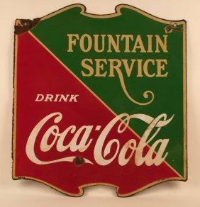 Coca-cola Soda Fountain Service Porcelain Sign