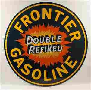 Frontier Gasoline Double Refined Porcelain Sign