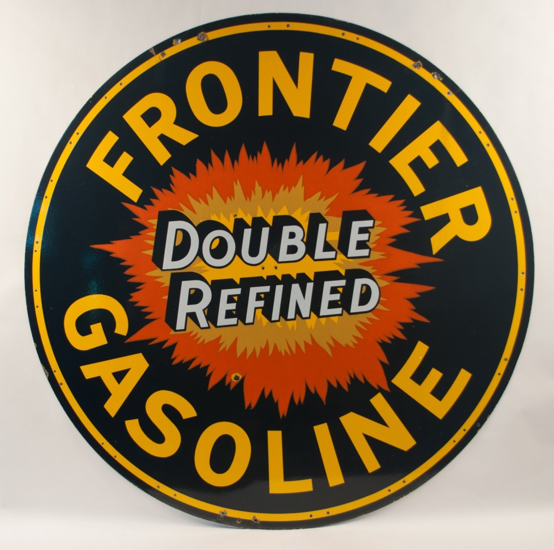 Frontier Gasoline Double Refined Porcelain Sign