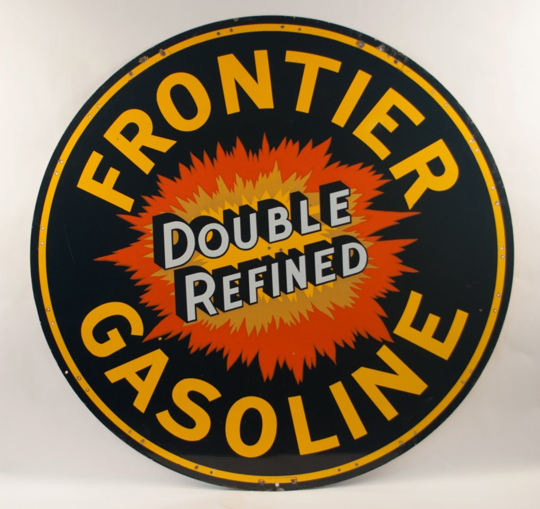 Frontier Gasoline Double Refined Porcelain Sign - 2