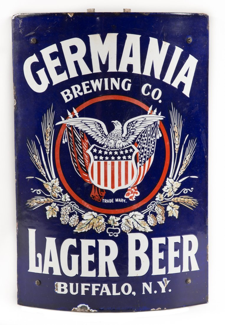 Germania Beer New York Curved Corner Porcelain Sign
