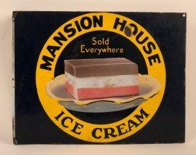 Mansion House Ice Cream Flange Porcelain Sign