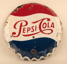 Pepsi Cola Porcelain Bottle Cap Sign