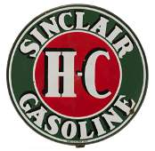 Sinclair H-C Porcelain Sign with Hanging Ring