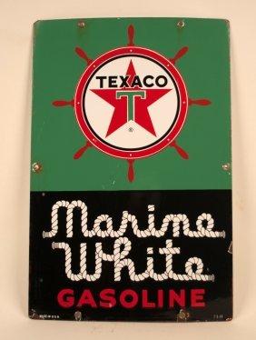 Texaco Marine White Gasoline Porcelain Pump Plate