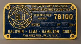 B&o 894 - As-16 Diesel Locomotive Builder's Plate