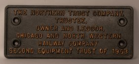 C&nw Equipment Trust Plate - 2nd Trust Of 1953