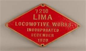 NYC B&A 1443 - 2-8-4 Steam Locomotive Builder's Plate