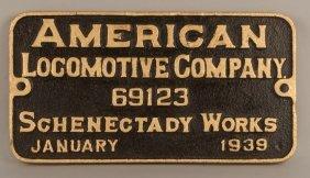 W&le 6413 - 2-8-4 Steam Locomotive Builder's Plate