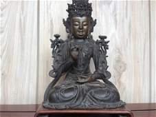 ANTIQUE Chinese gilt bronze statue