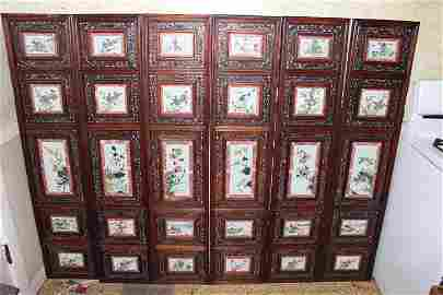 antique chinese porcelain with wood carved screen