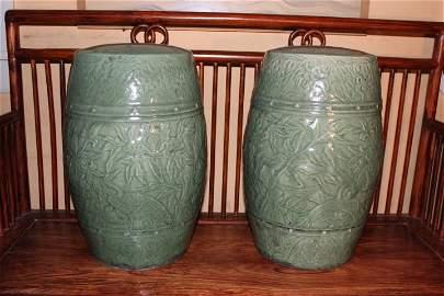 pair antique Chinese  celadon garden seats