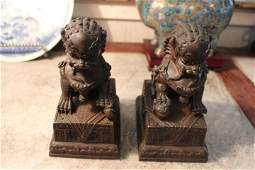 Pair Antique Chinese bronze foo dogs