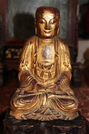 Antique Chinese wood gilt lacquer luohan statue