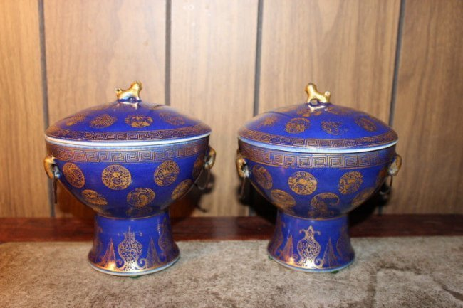 Pair Vintage Chinese hand painted porcelain vases