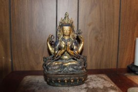Antique Chinese Bronze Gilt Buddha
