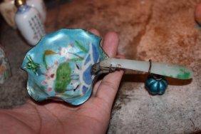 Antique Chinese Hand Painted Enamel Jadite Handle Dish