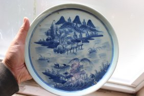 Antique Chinese Blue And White Procelain Plates