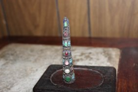 Antique Chinese Enamal Silver Jadeited Pearl Tourmaline