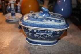 Antique Chinese Blue And White Vase With Cover
