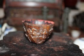 Antique Chinese Wood Lacquer Hand Carved Cop