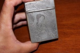 Antique Chinese Tin Hand Carved Lady's Mirror Box