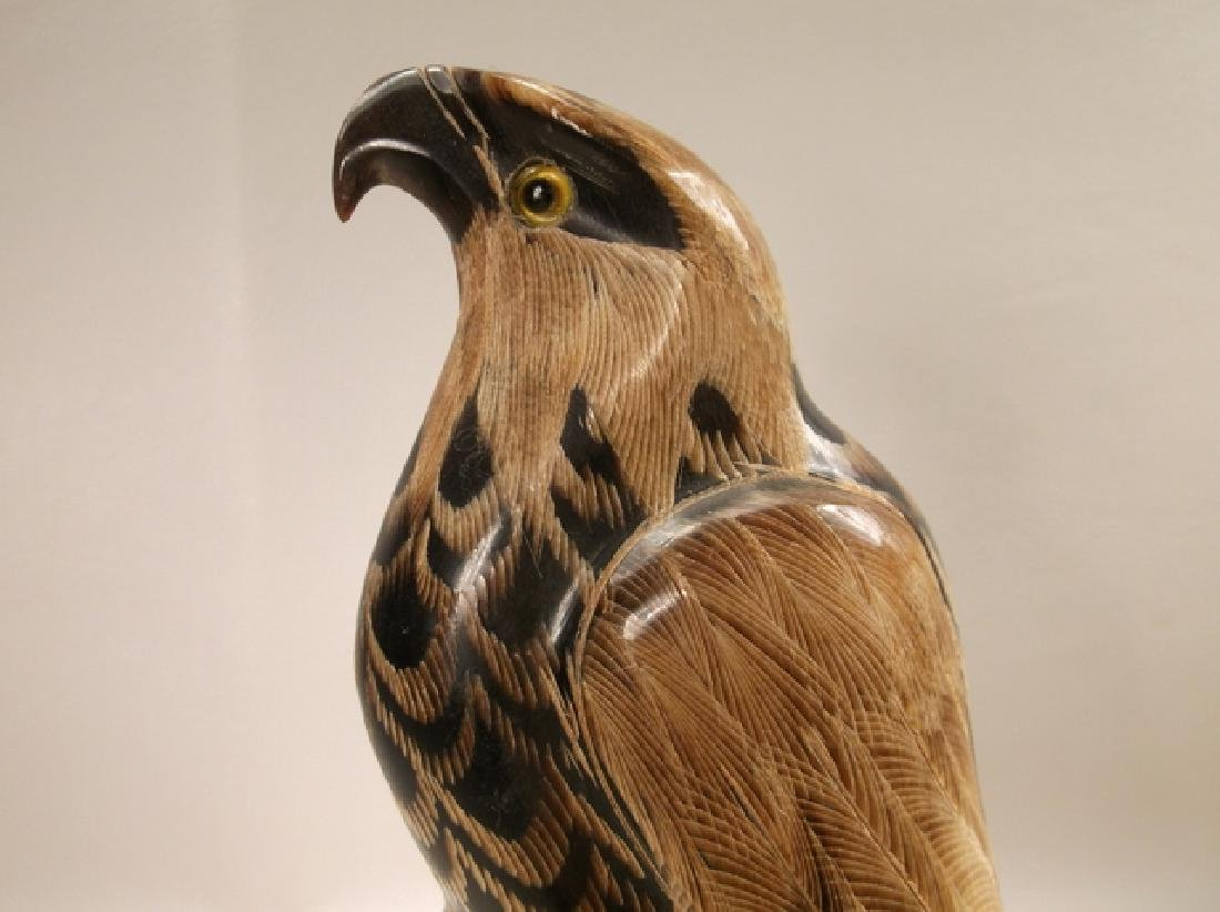 Stunning Alaskan Hand Carved Horn Eagle Statue 6 Inch - 2