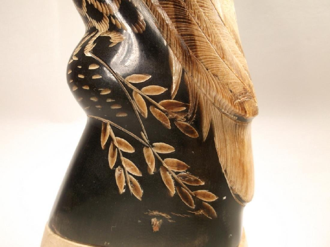 Stunning Alaskan Hand Carved Horn Eagle Statue 6 Inch - 3