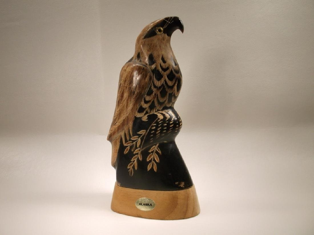 Stunning Alaskan Hand Carved Horn Eagle Statue 6 Inch - 5