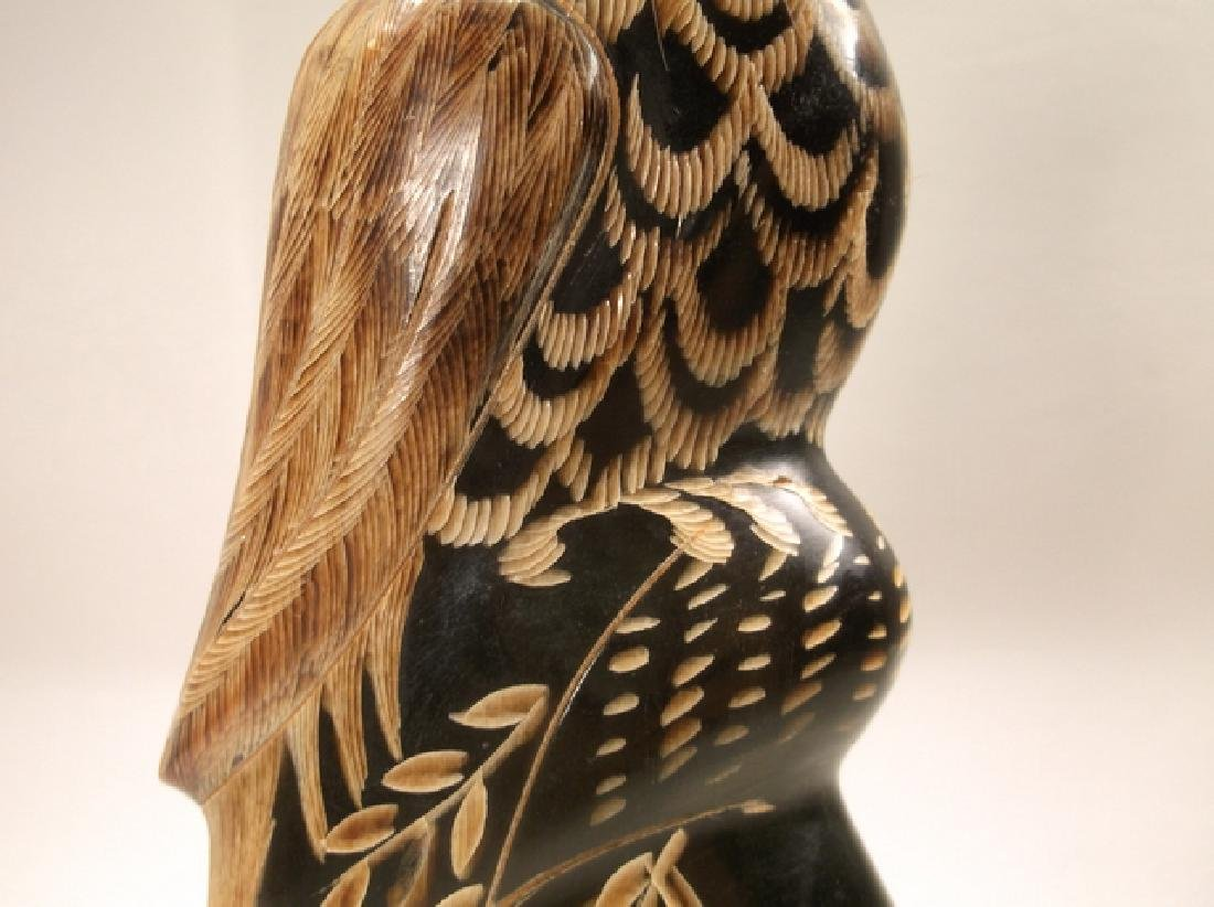 Stunning Alaskan Hand Carved Horn Eagle Statue 6 Inch - 6