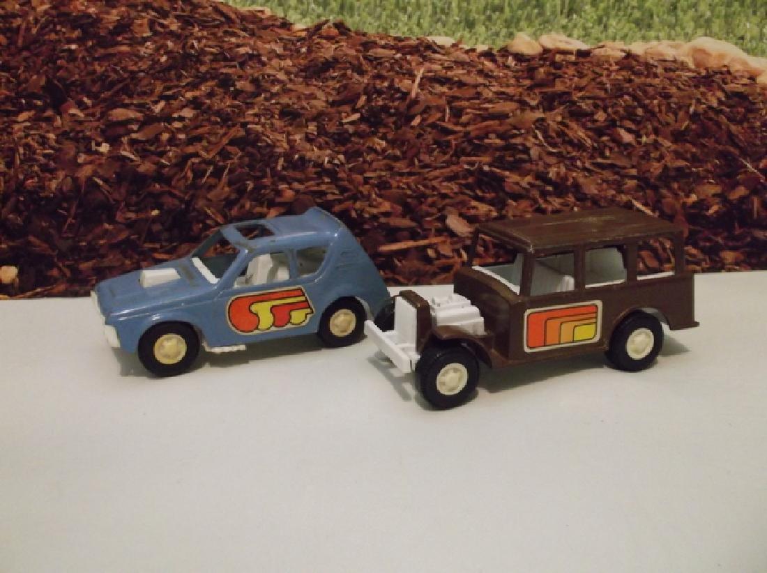 2 Vintage 1970s Metal Tootsie Toy Cars 4 Inch Large