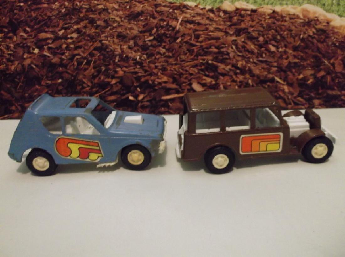2 Vintage 1970s Metal Tootsie Toy Cars 4 Inch Large - 4