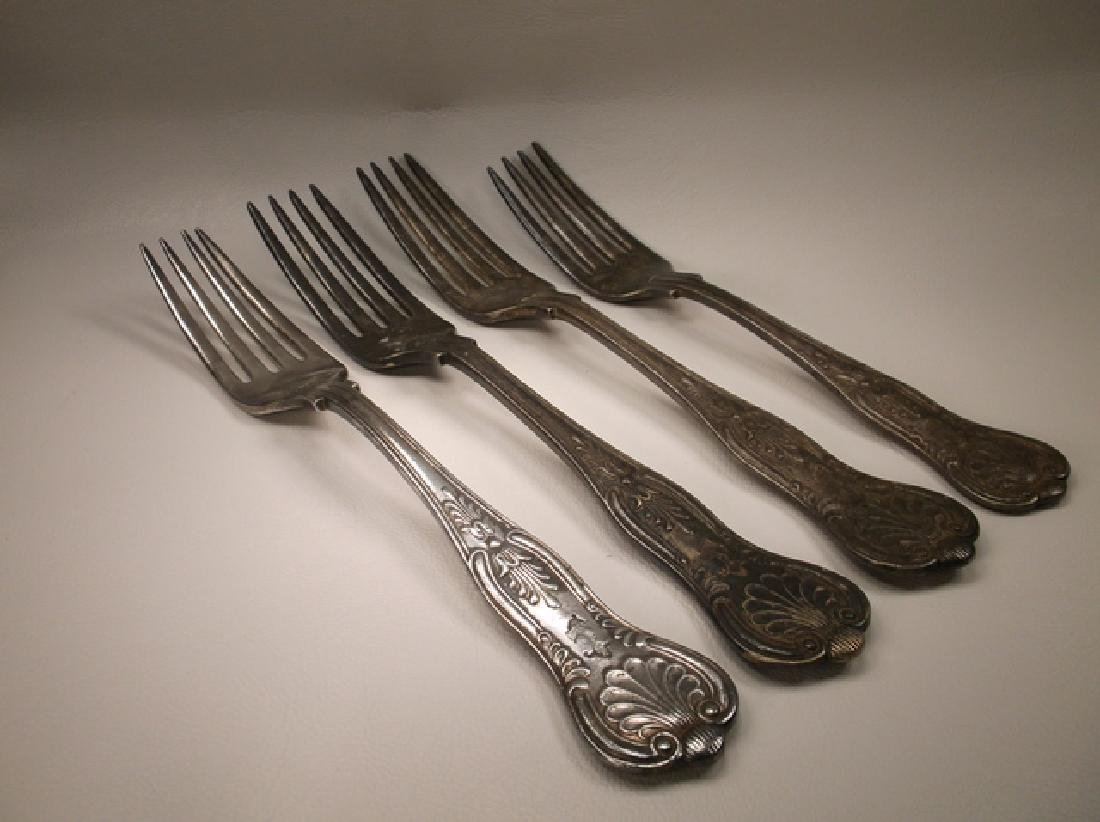 WWII USN US Navy Silverplate Kings Pattern Fork Set