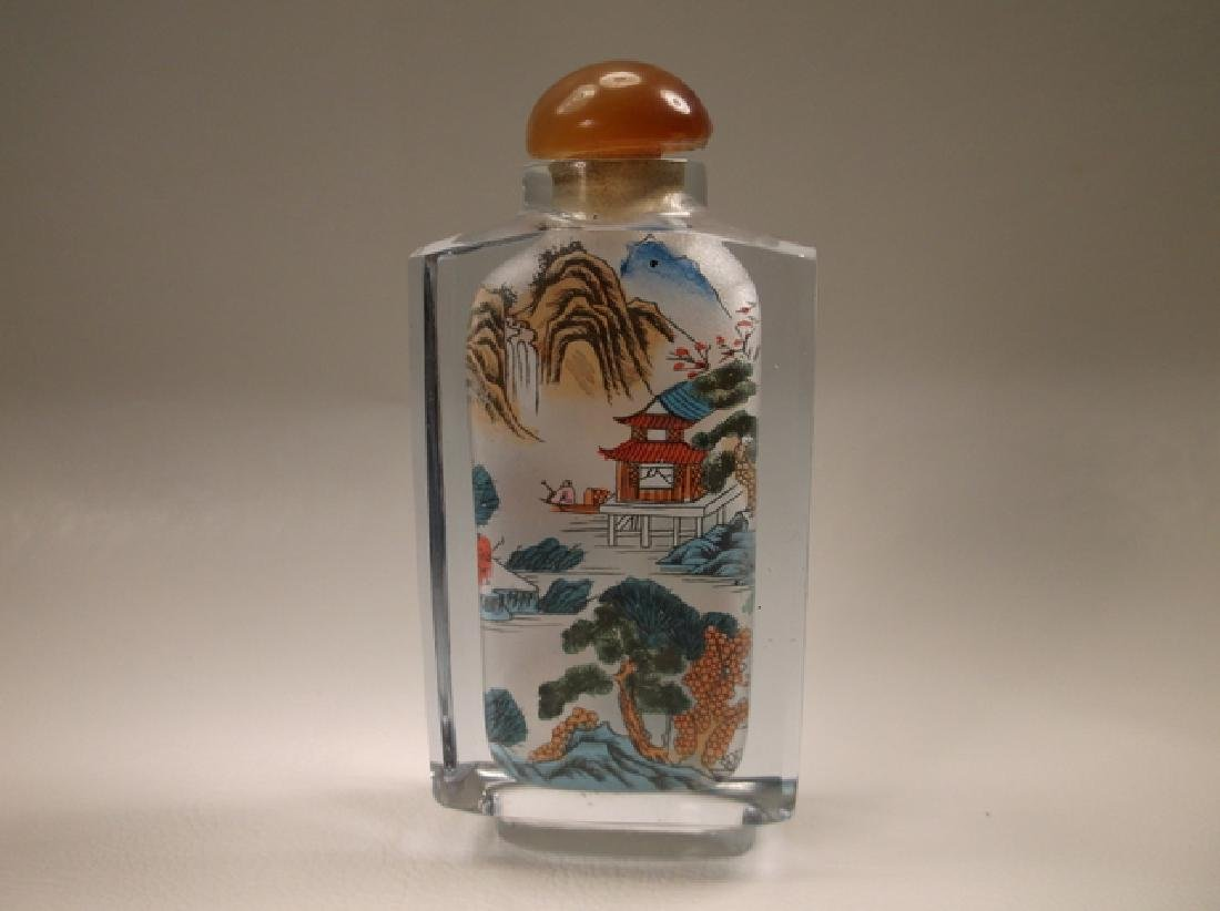 Gorgeous Agate Top Chinese Glass Opium Bottle