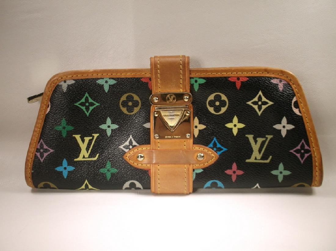 Louis Vuitton Black and Brown Leather Clutch No Strap