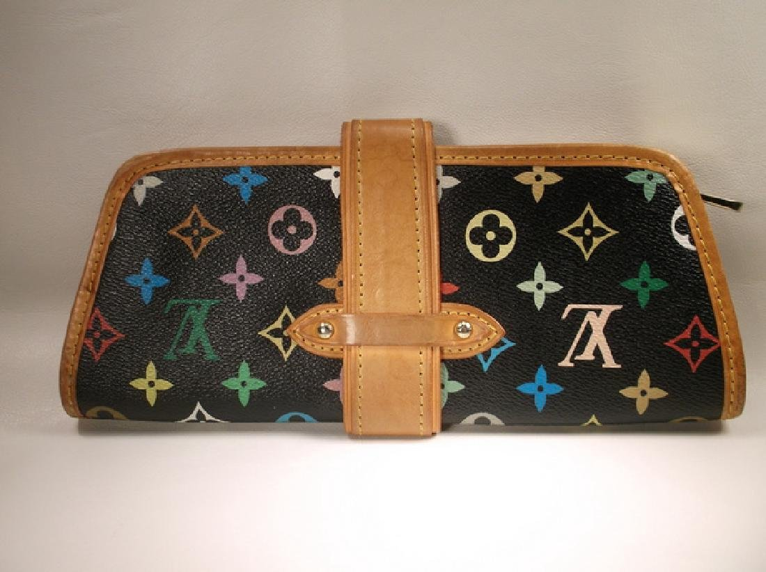 Louis Vuitton Black and Brown Leather Clutch No Strap - 7