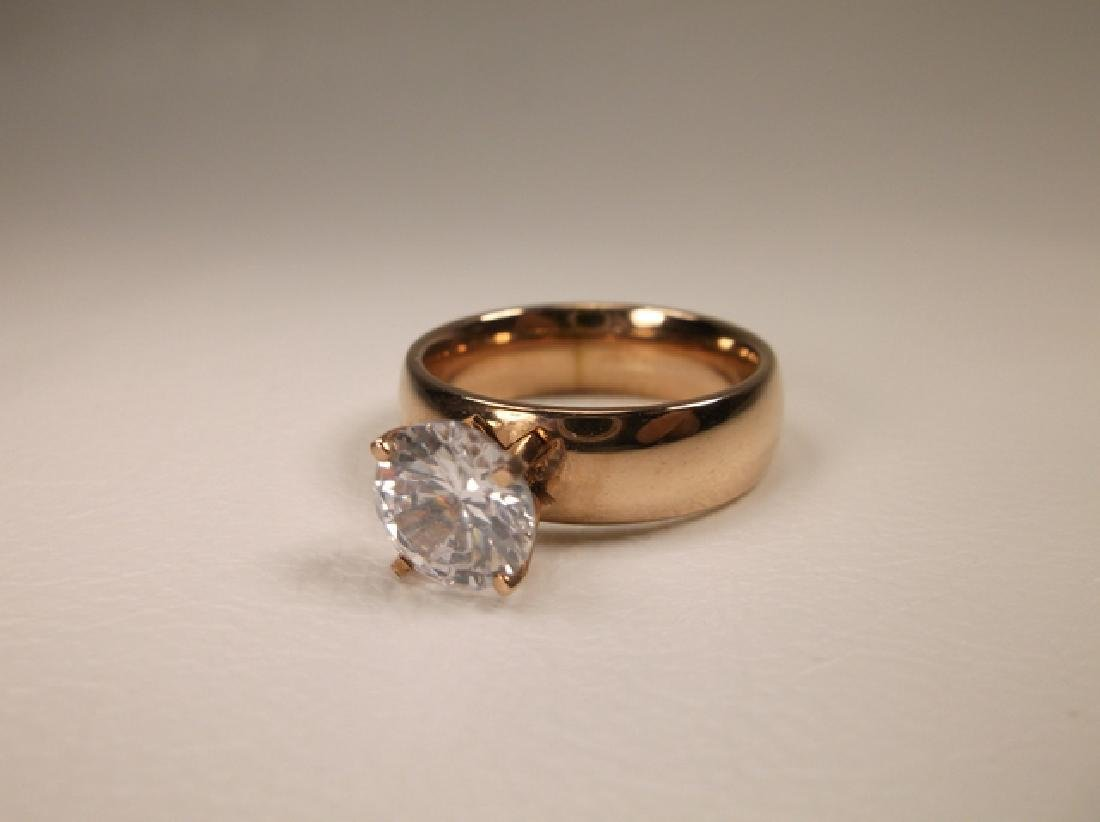 Beautiful Rose Gold Over Stainless Steel CZ Engagement