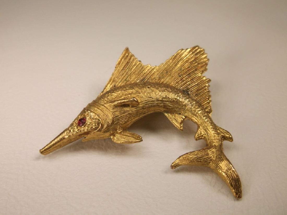 Gorgeous Vintage Gold Tone Marlin Swordfish Brooch