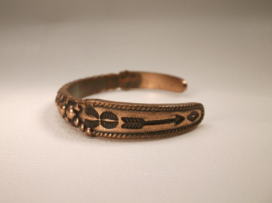 Vintage Navajo Solid Copper Cuff Bracelet Southwestern - 2