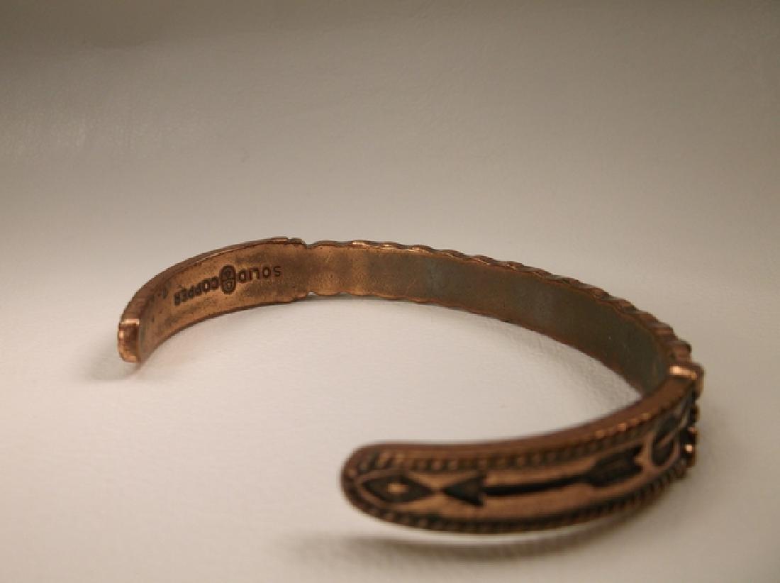 Vintage Navajo Solid Copper Cuff Bracelet Southwestern - 3