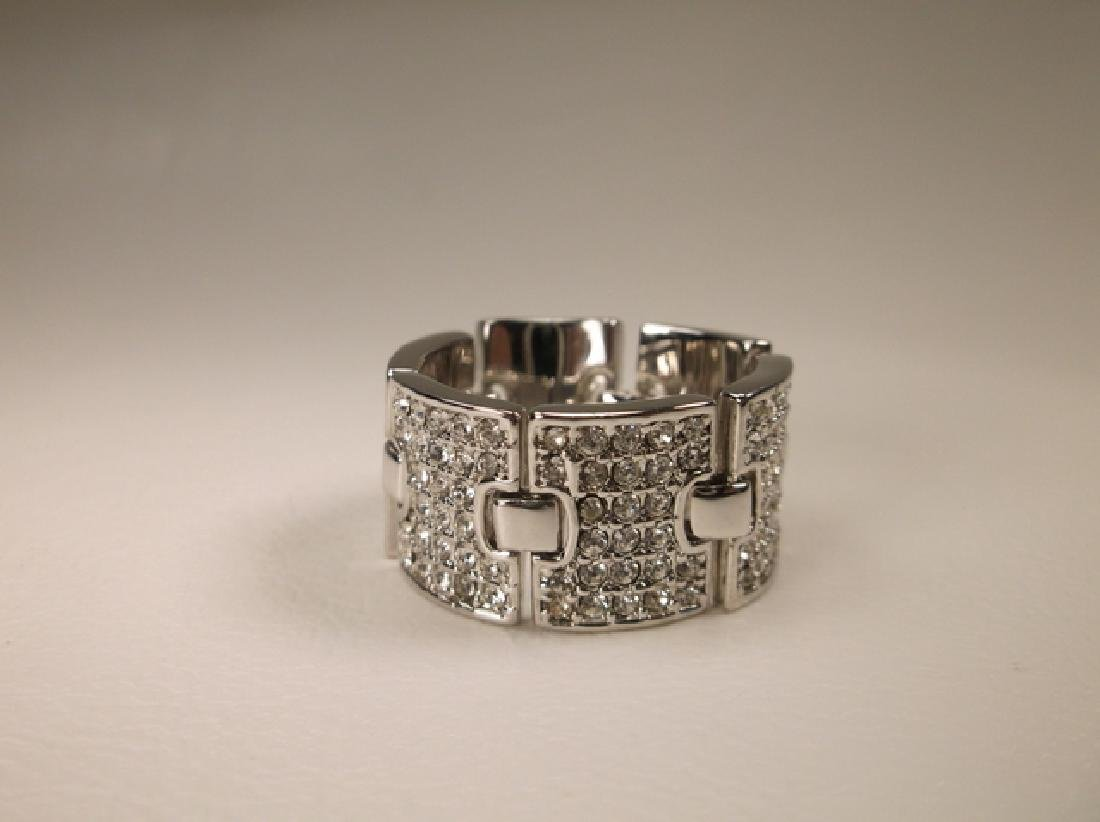 Gorgeous Stainless Steel CZ Panel Ring in Size 8.25