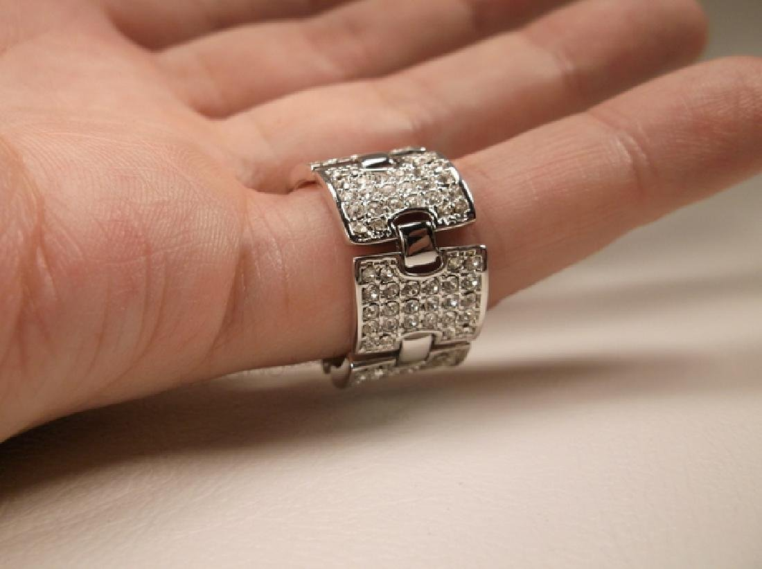 Gorgeous Stainless Steel CZ Panel Ring in Size 8.25 - 2