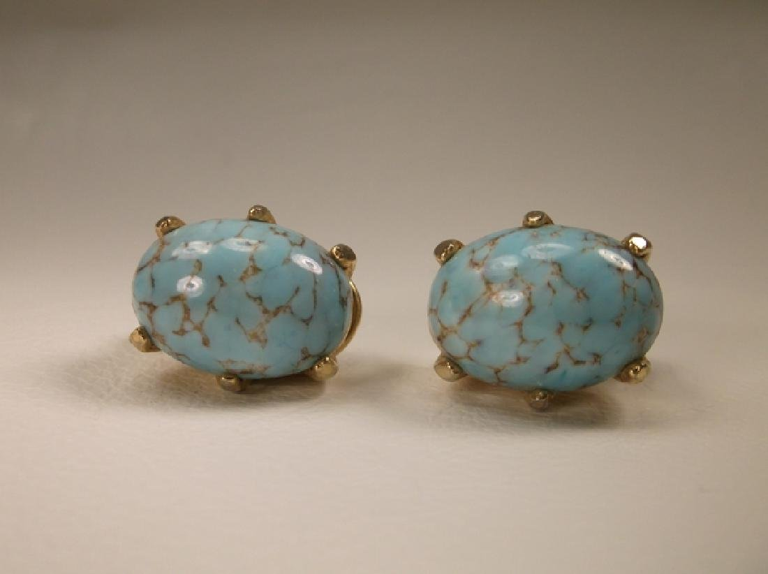 Gorgeous Vintage Turquoise Clip On Earrings