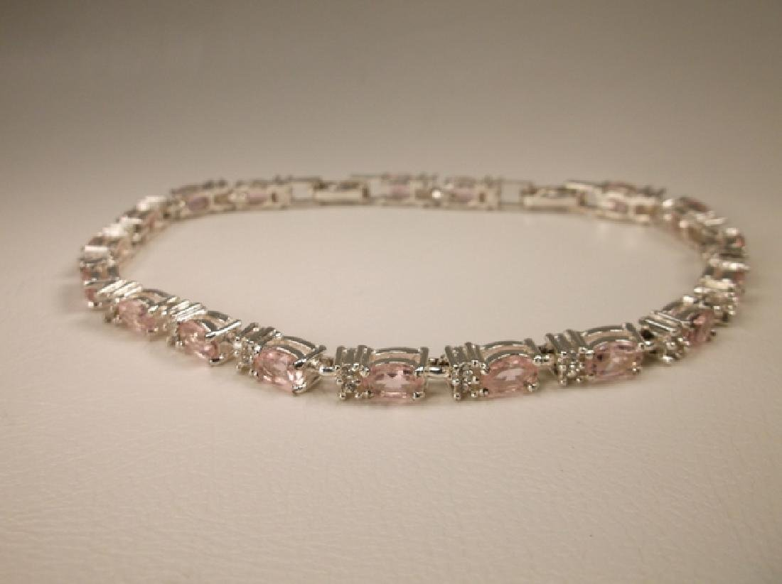 Gorgeous Silvertone Pink Crystal Bracelet 8-9 Inch