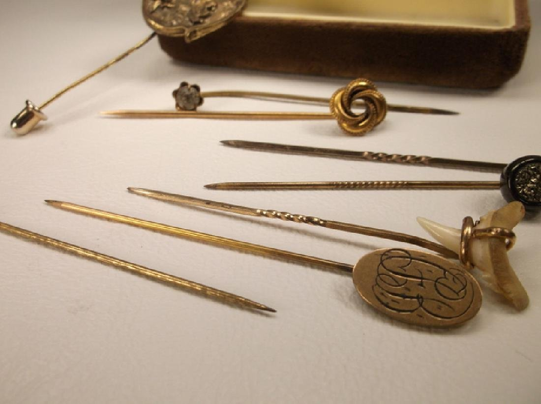 Collection of Antique Stick Pins Shark tooth & More - 2