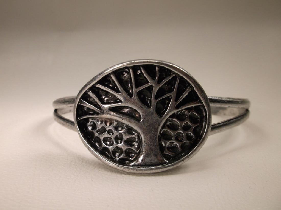 Gorgeous Silvertone Tree of Life Cuff Bracelet