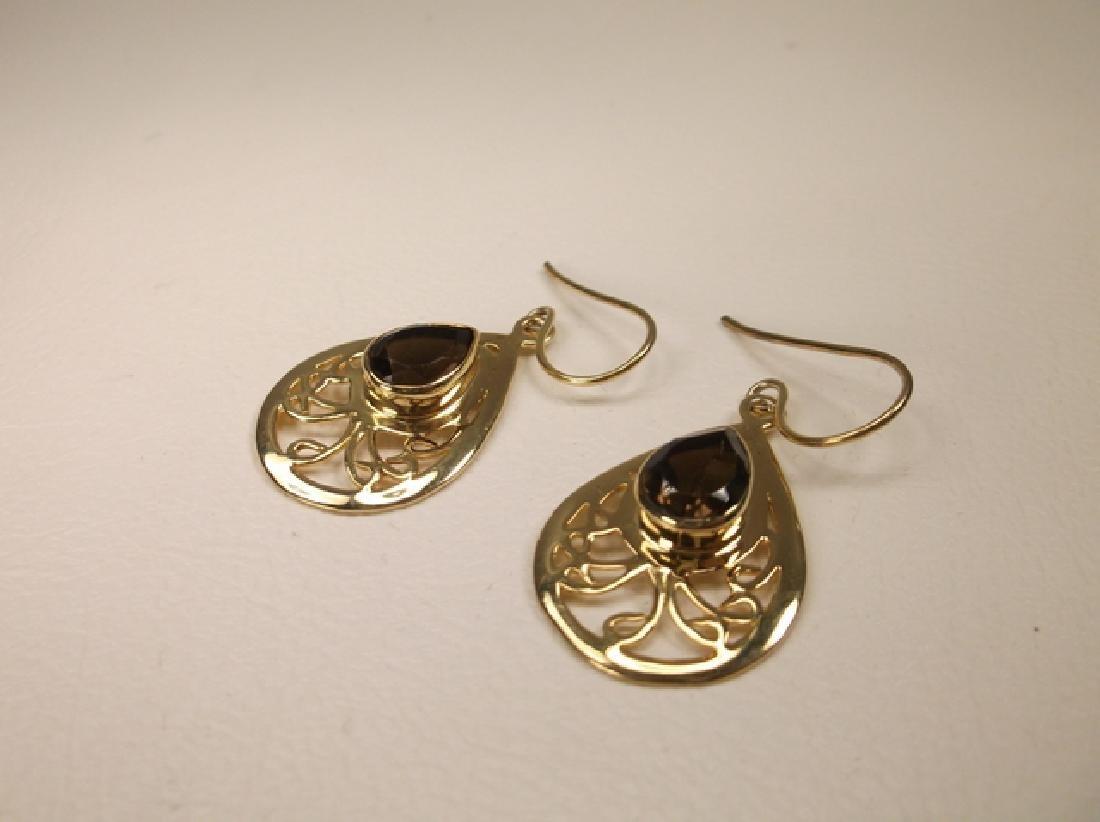 Gorgeous Gold Tone Smokey Quartz Teardrop Hook Earrings