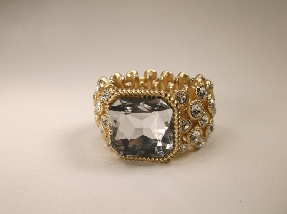 Gorgeous Gold Tone Rhinestone Stretch Ring