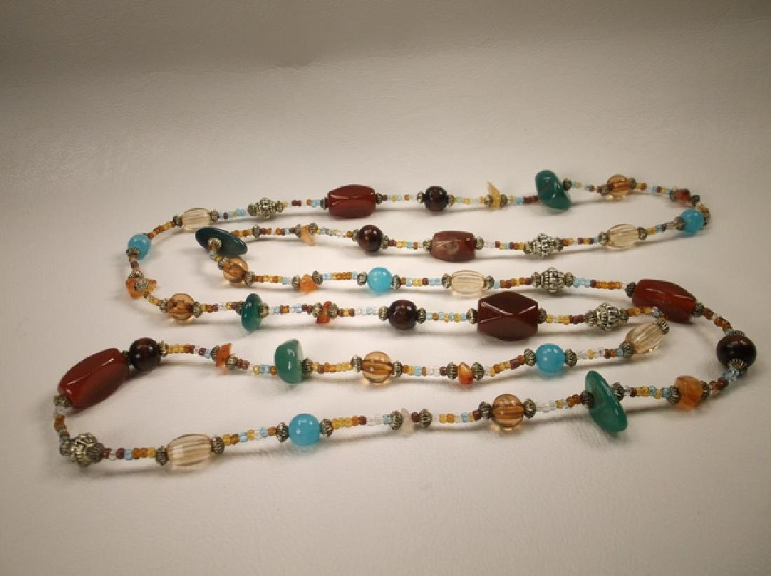 Gorgeous Colorful Agate & Beaded Necklace 42 Inch