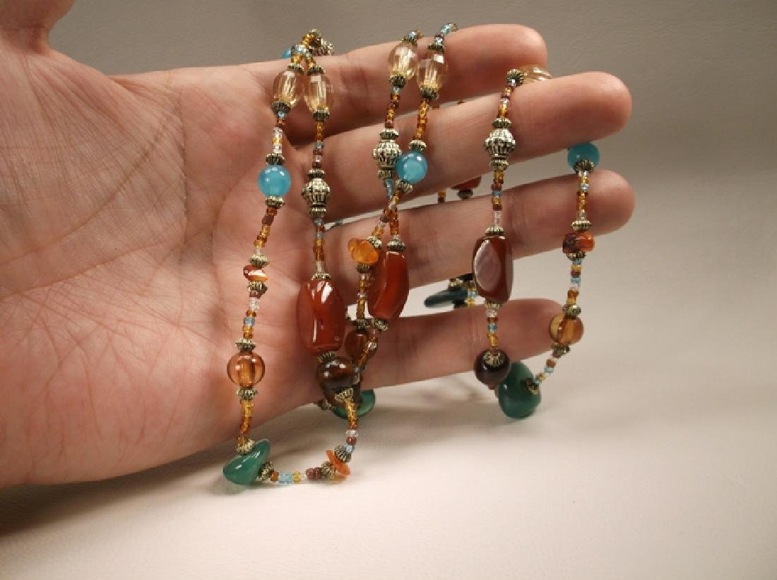 Gorgeous Colorful Agate & Beaded Necklace 42 Inch - 3
